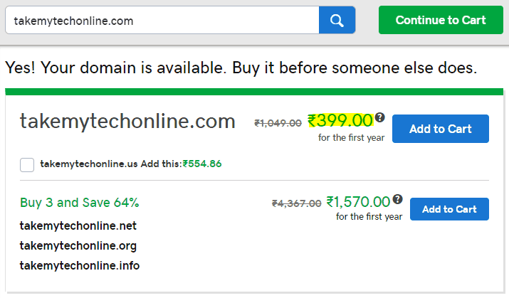 When you search a domain on godaddy.com