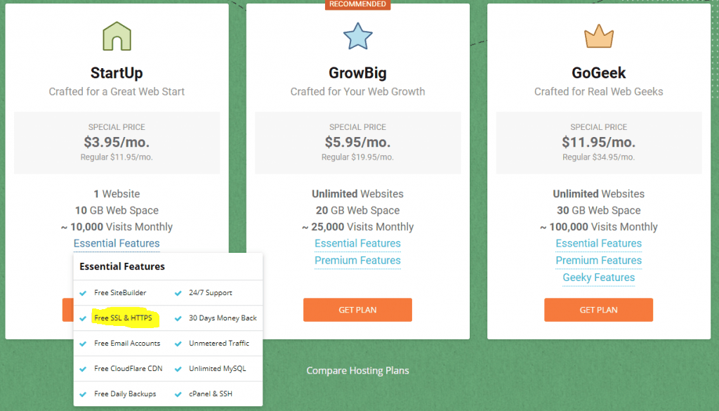siteground.com Hosting Plans