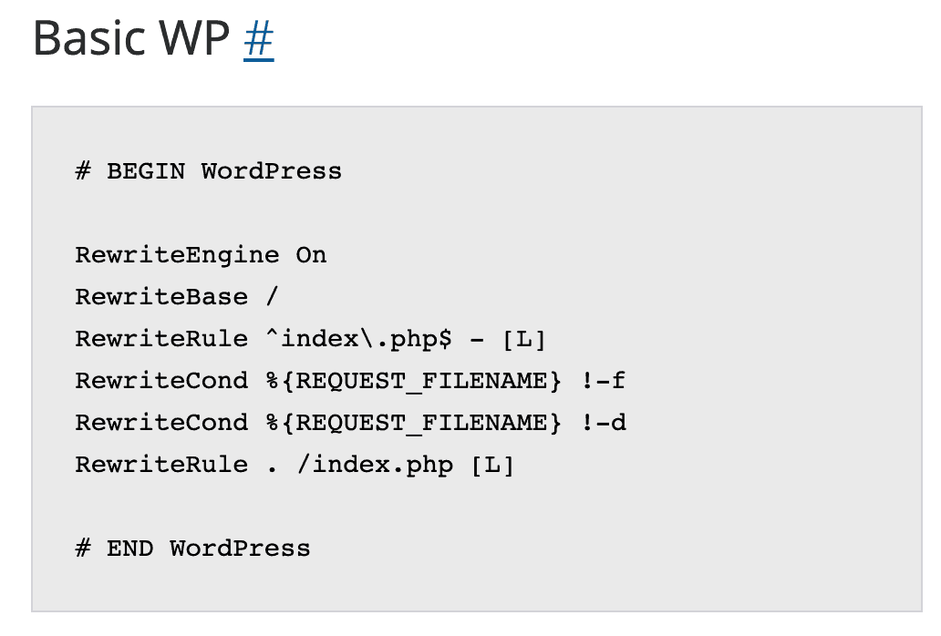 WordPress default htaccess rules explained in 6 steps