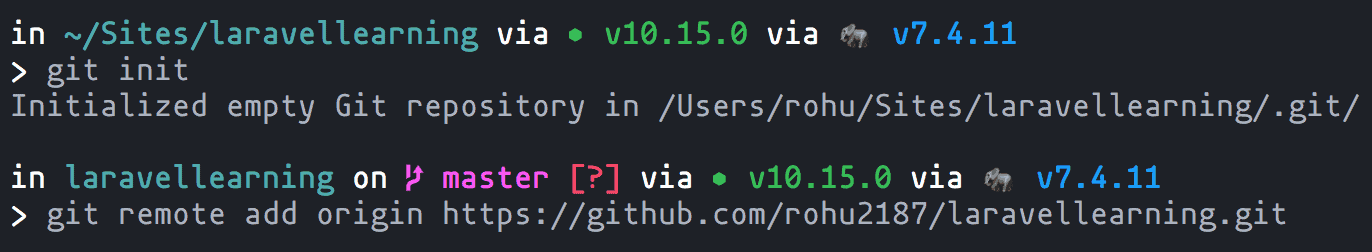 git initialized and added remote origin